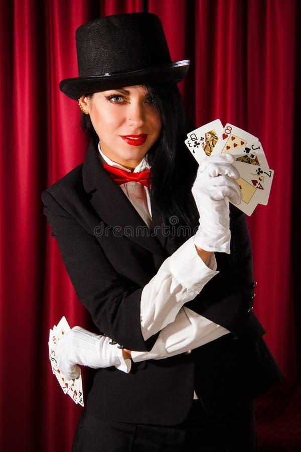 Magik z paczką karta do gry obraz stock