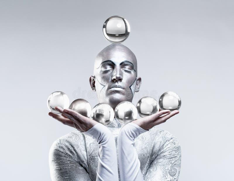Magik z Szklanymi piłkami fotografia stock