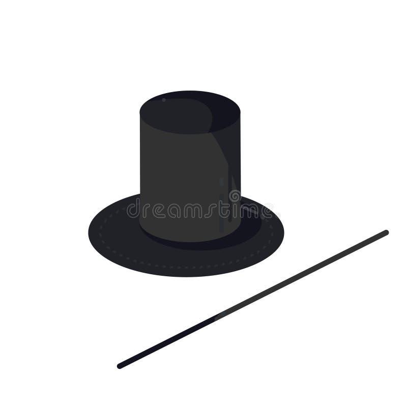 magika m ustalony kapelusz i magii różdżka royalty ilustracja