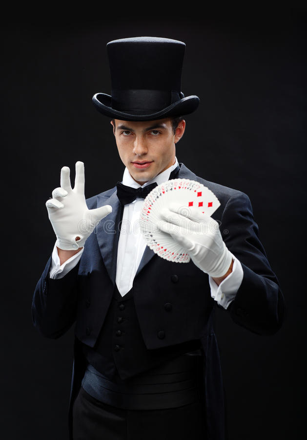 Magika seansu sztuczka z karta do gry obraz royalty free