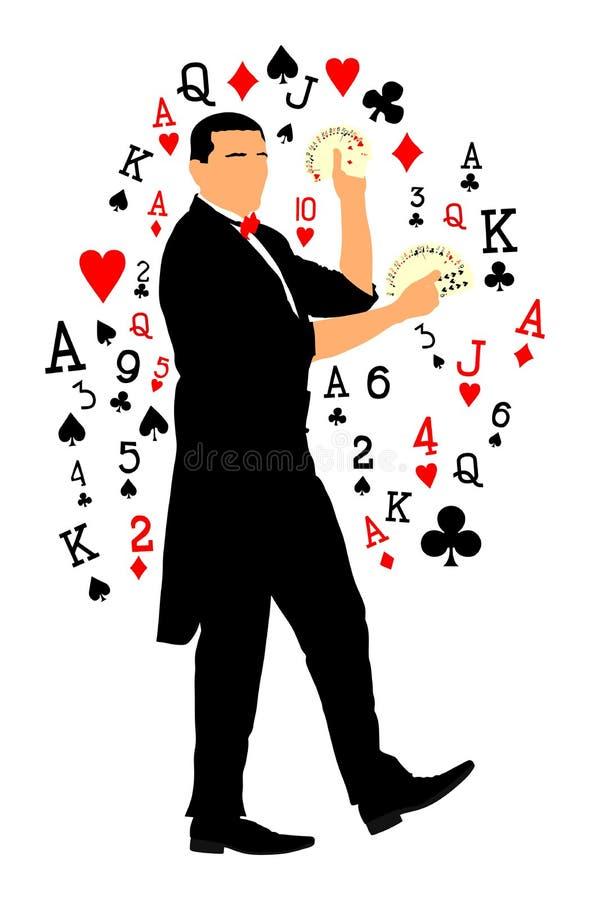 Magika spełniania sztuczka z karty wektorową ilustracją odizolowywającą na białym tle Magiczny wykonawcy iluzjonista ilustracja wektor