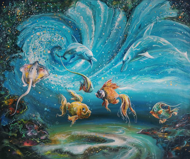 Magin av glödande plankton i den undervattens- världen Författare: Nikolay Sivenkov royaltyfri illustrationer