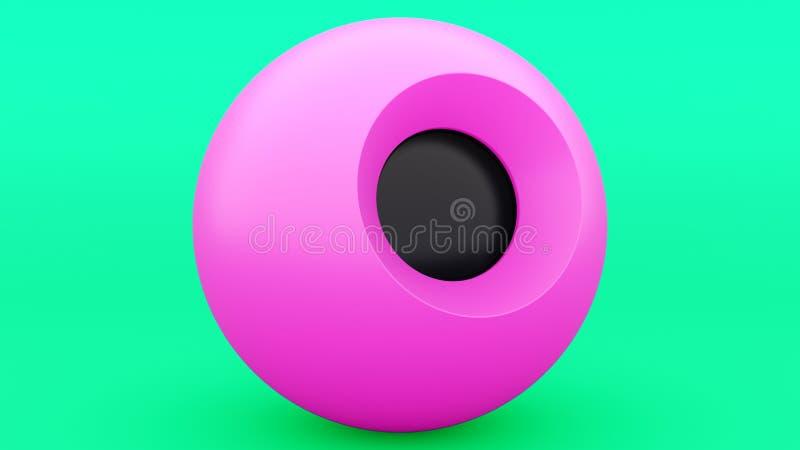 Magisch 8 bal roze gebied, groot ontwerp voor om het even welke doeleinden 3D Illustratie Grijze samenvatting Het moderne Element royalty-vrije illustratie