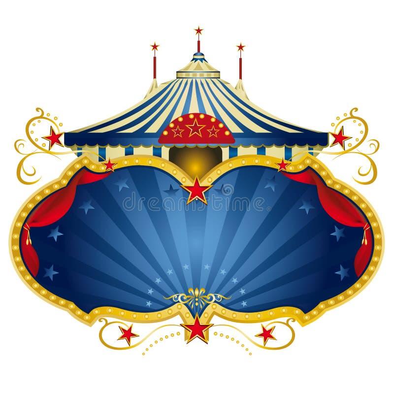 Magisch blauw circusframe stock illustratie