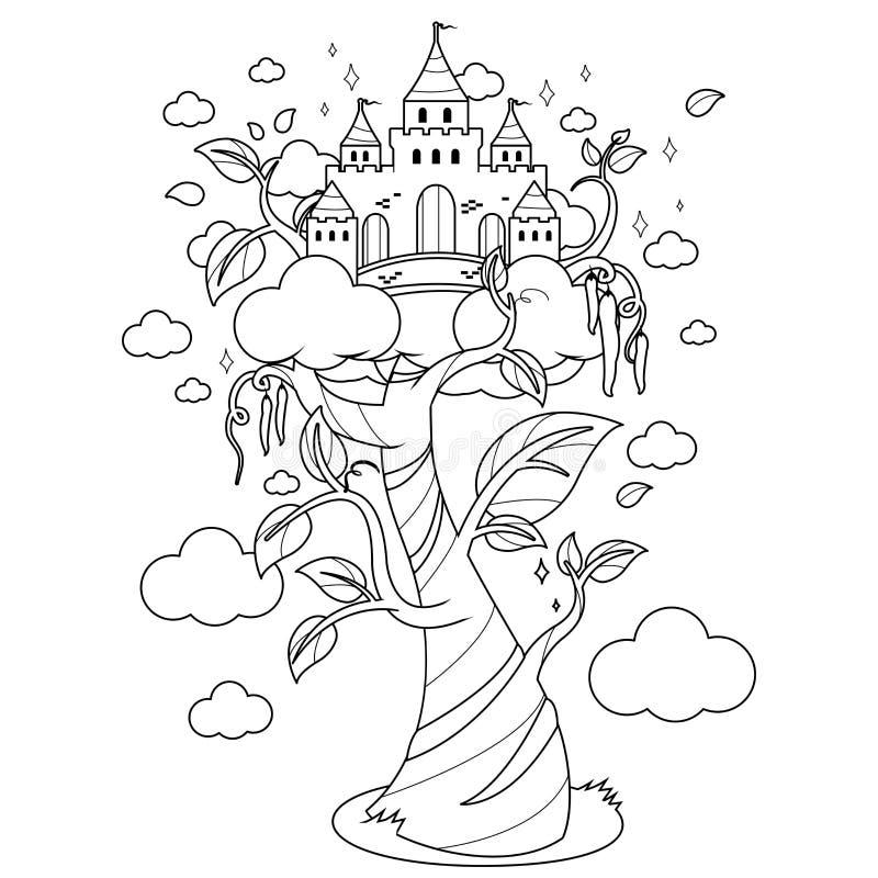Magisch bonestengel en kasteel Zwart-witte kleurende boekpagina royalty-vrije illustratie