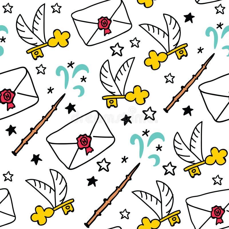 Magisch de objecten van de heksenschool naadloos patroon stock illustratie