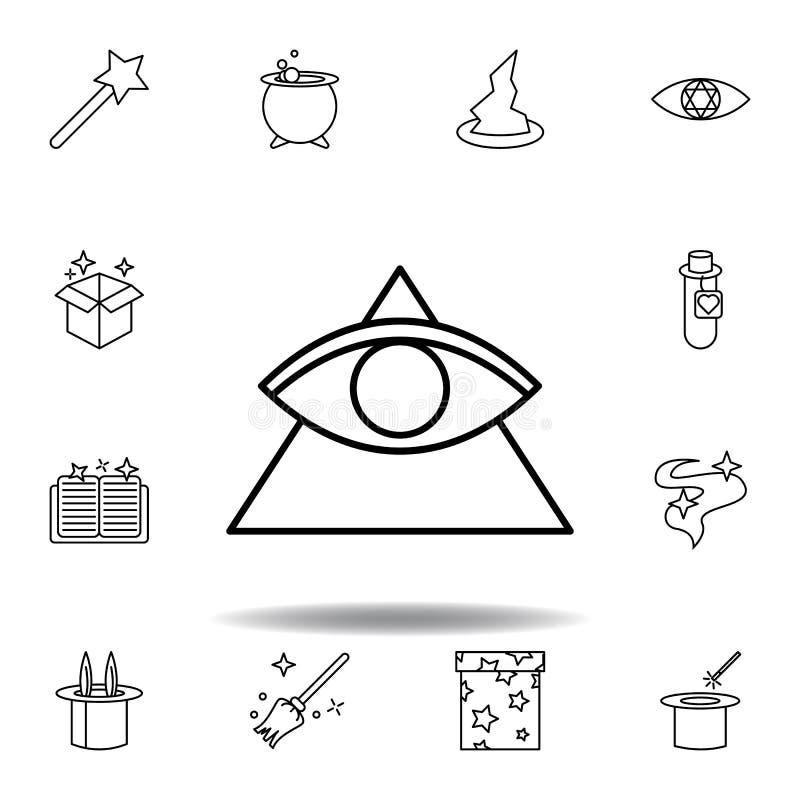 Magisch driehoek en oogoverzichtspictogram elementen van het magische pictogram van de illustratielijn de tekens, symbolen kunnen vector illustratie