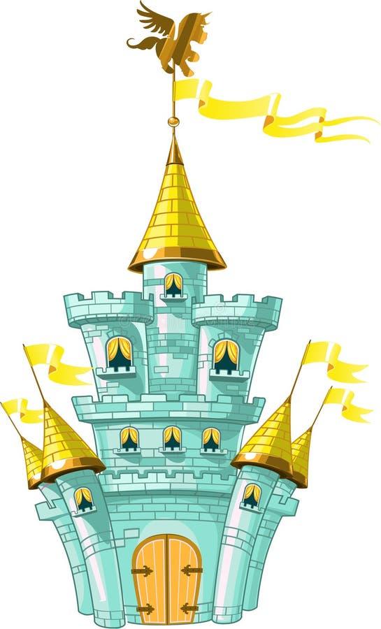 Magisch fairytale blauw kasteel met vlaggen stock illustratie