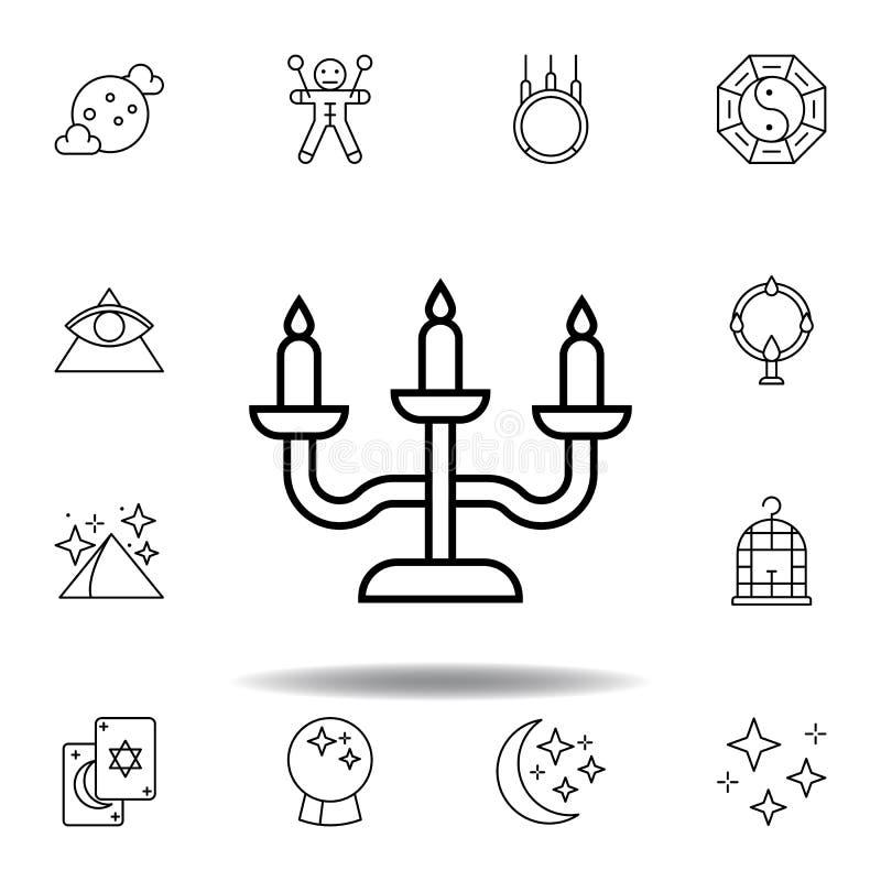 Magisch het overzichtspictogram van meubilairkandelabers elementen van het magische pictogram van de illustratielijn de tekens, s stock illustratie