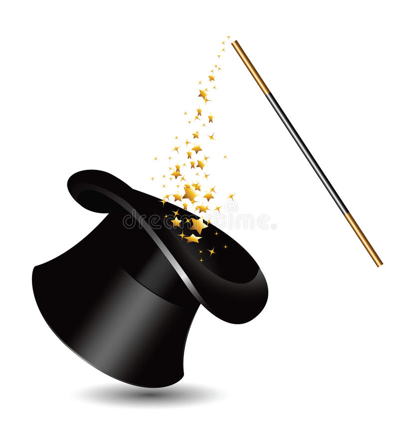 Magisch hoed en toverstokje met fonkelingen. vector vector illustratie
