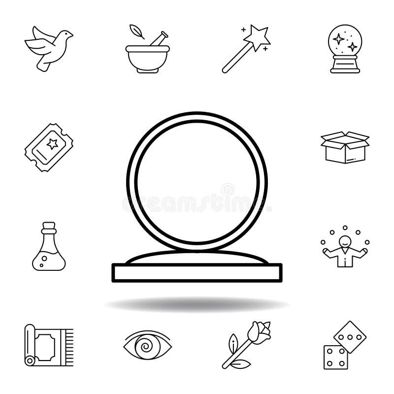 Magisch kristal, het pictogram van het baloverzicht elementen van het magische pictogram van de illustratielijn de tekens, symbol vector illustratie