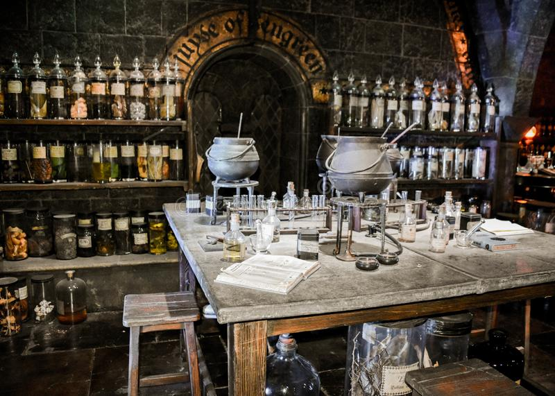 Magisch laboratorium in de Harry Potter-tentoonstelling in Londen verenigde Kingdon royalty-vrije stock foto's