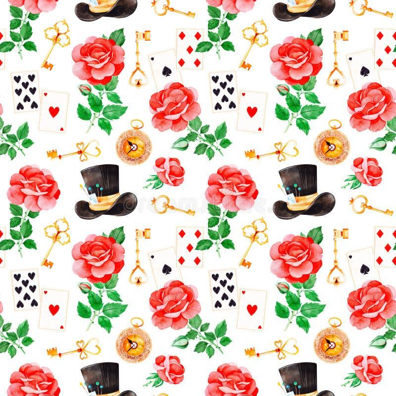 Magisch patroon met mooie rozen, speelkaarten, hoed, oude klok en gouden sleutels vector illustratie