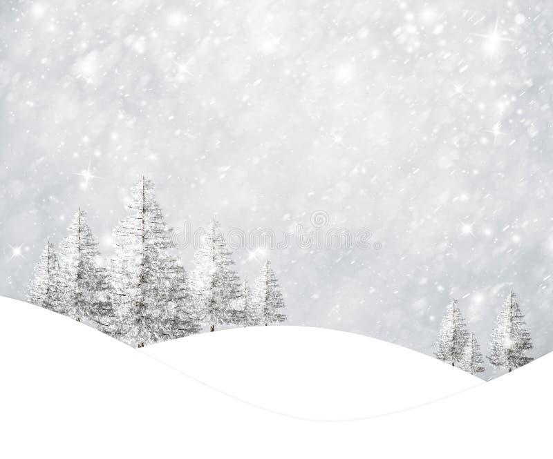 Magisch sneeuwlandschap met sneeuwhemel vector illustratie