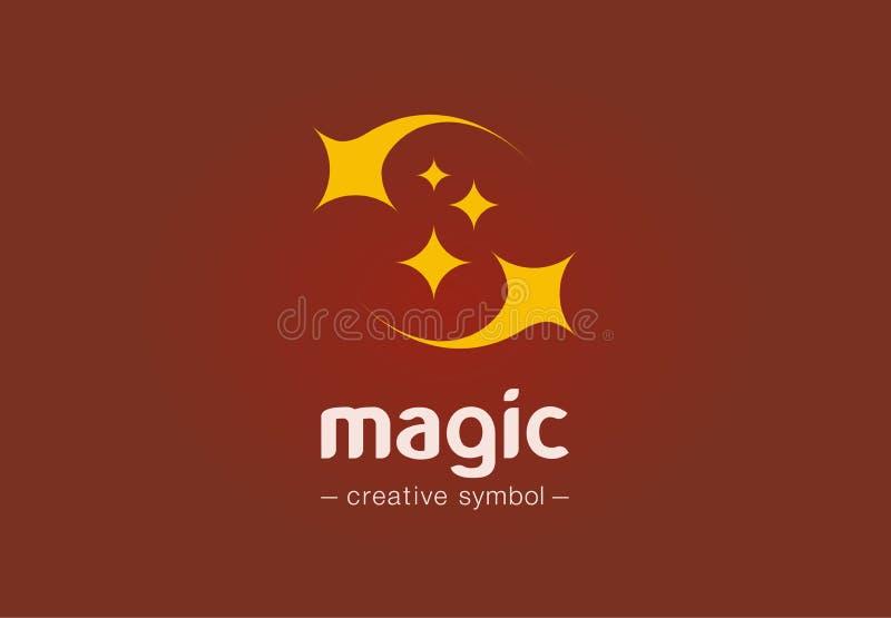 Magisch toon creatief symboolconcept Fonkelingsster, stof, mirakel, wonderwork abstract bedrijfsembleem Illusie, slaap royalty-vrije illustratie