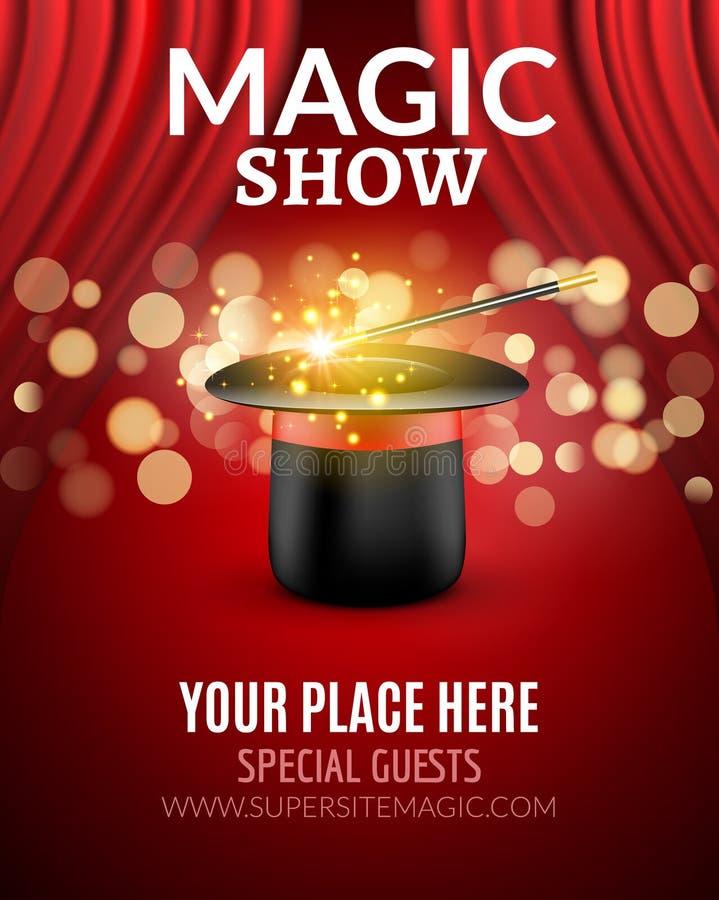 Magisch toon het malplaatje van het afficheontwerp Magisch toon vliegerontwerp met magische hoed en gordijnen vector illustratie