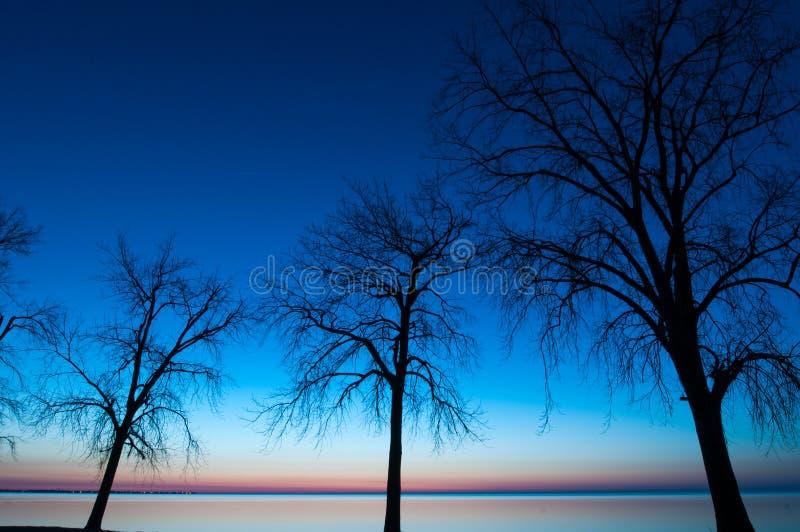 Magisch uur bij Meer Erie stock fotografie