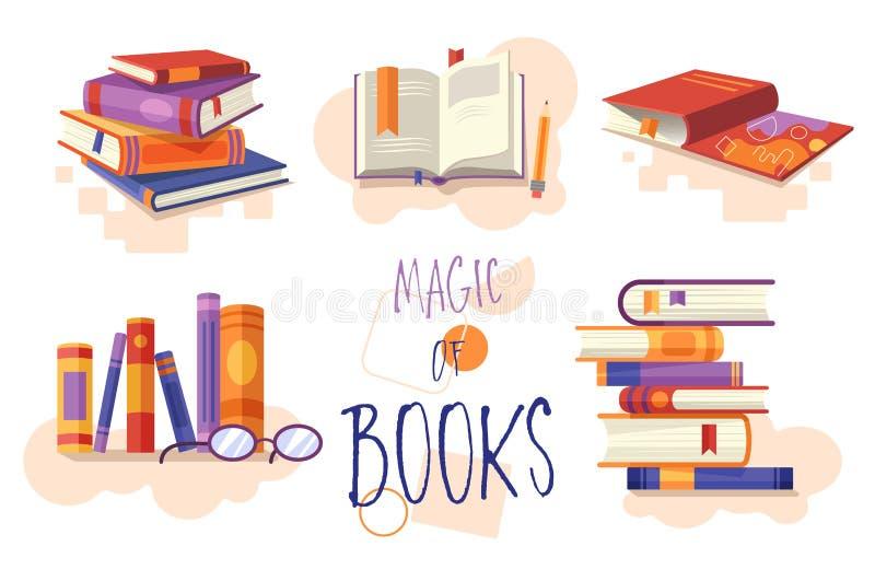 Magisch van Boekenreeks pictogrammen of ontwerpelementen die gestapelde boeken, open boek voor lezing, rij op een boekenrek tonen royalty-vrije illustratie