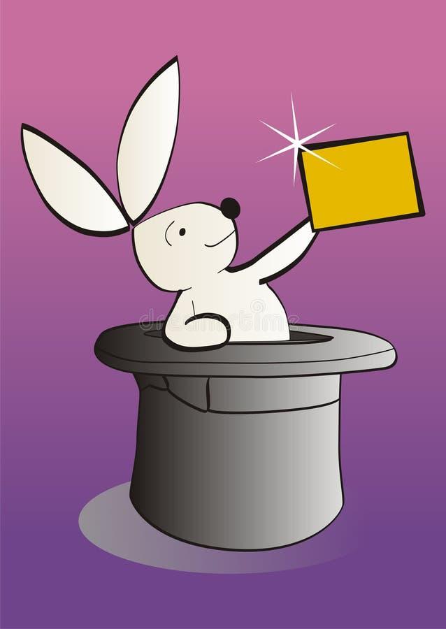 Magisch wit konijn dat een lege banner toont royalty-vrije illustratie