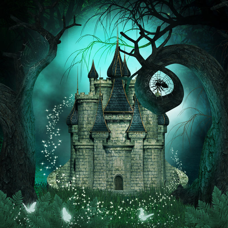 Magische achtergrond met een fantasiekasteel en griezelige bomen stock illustratie