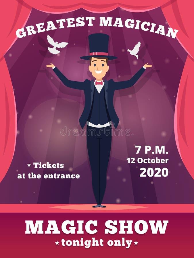 Magische afficheuitnodiging De circustovenaar toont aanplakbiljetten vectormalplaatje de rode gordijnen van de vector van tovenaa royalty-vrije illustratie
