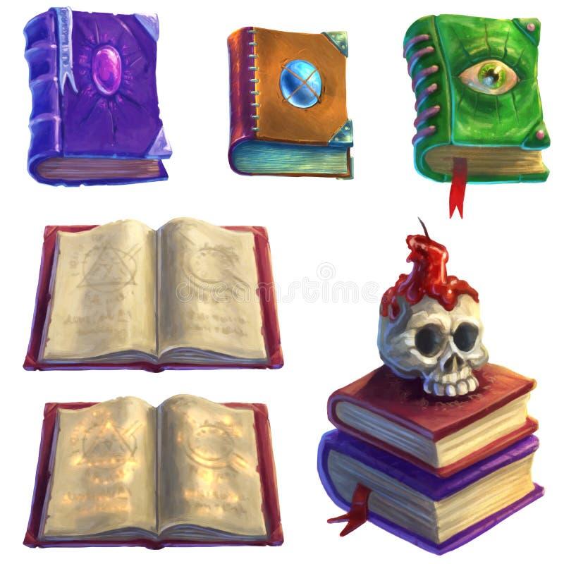 Magische Bücher eingestellt lizenzfreie abbildung