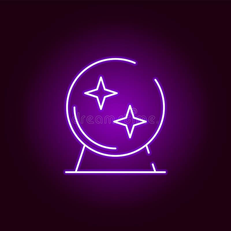Magische Ballikone in der Neonart Element von Halloween-Illustration Zeichen und Symbolsammlungsikone f?r Website, Webdesign, vektor abbildung