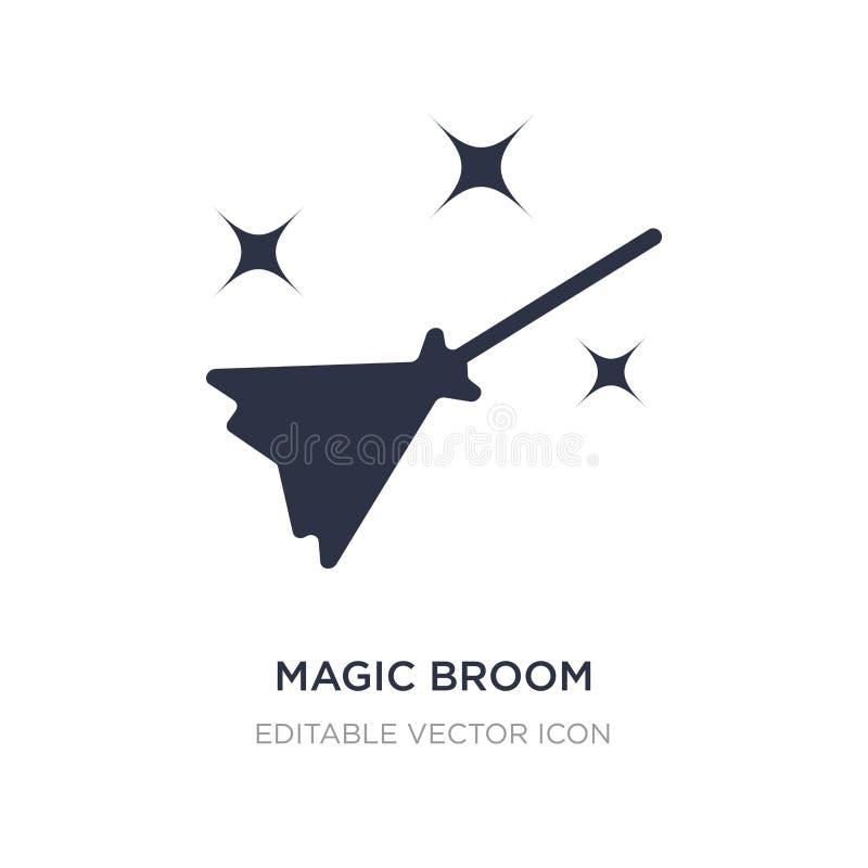 magische Besenikone auf weißem Hintergrund Einfache Elementillustration von Halloween-Konzept lizenzfreie abbildung