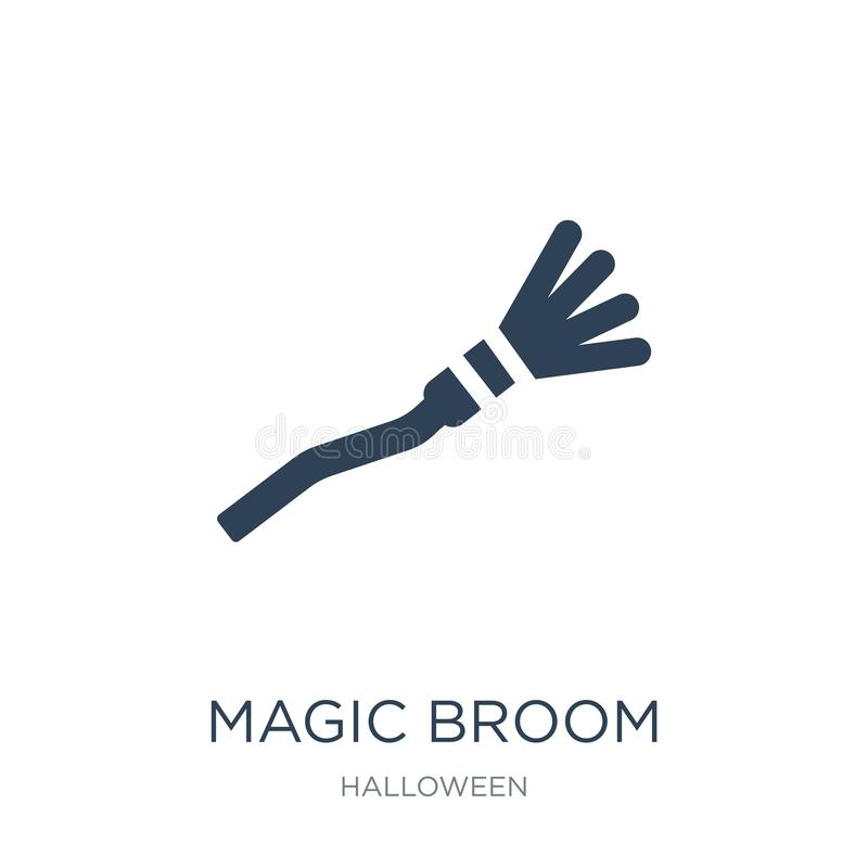 magische Besenikone in der modischen Entwurfsart magische Besenikone lokalisiert auf weißem Hintergrund magische Besenvektorikone lizenzfreie abbildung