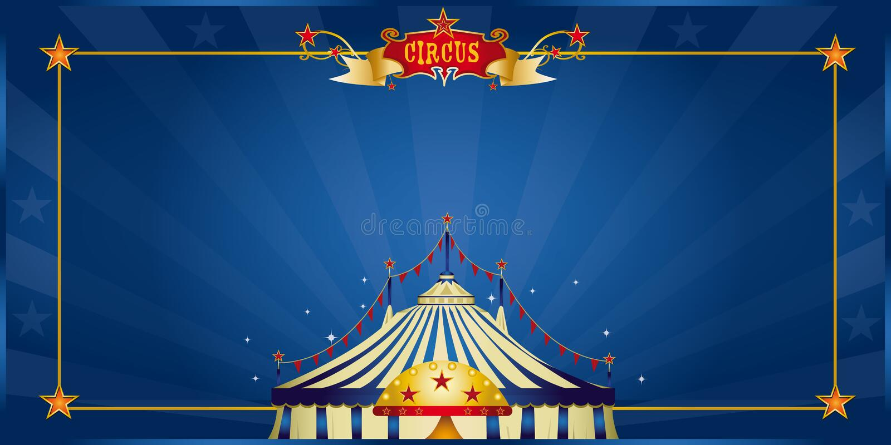 Magische blauwe circusuitnodiging royalty-vrije illustratie
