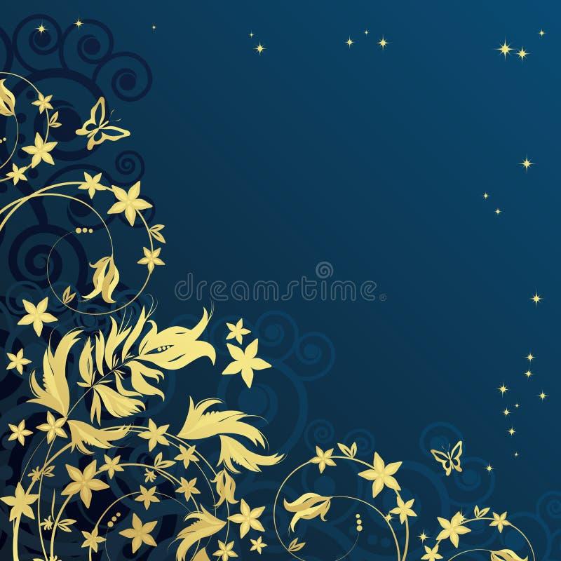 Magische bloemenachtergrond met gouden curles.   stock illustratie