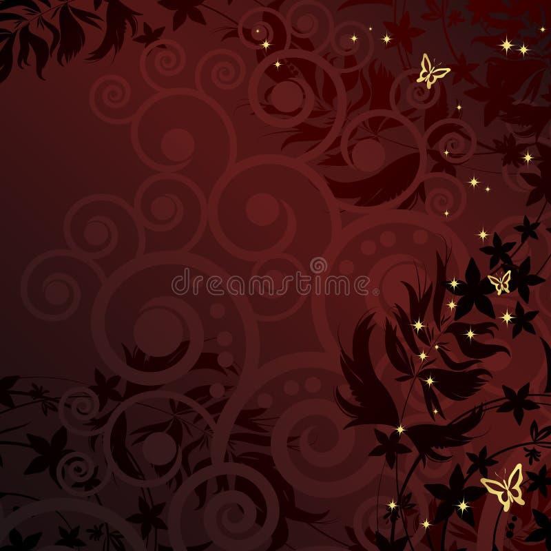 Magische bloemenachtergrond met gouden curles. vector illustratie