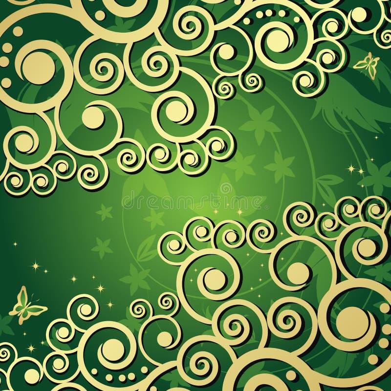 Magische bloemenachtergrond met gouden curles. royalty-vrije illustratie