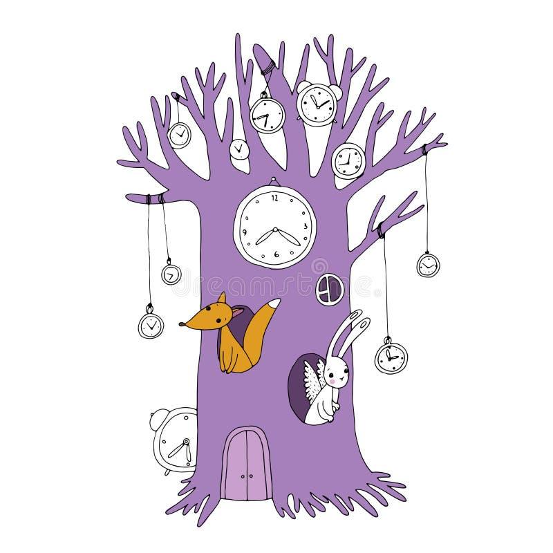 Magische boom, klok, vos en hazen vector illustratie