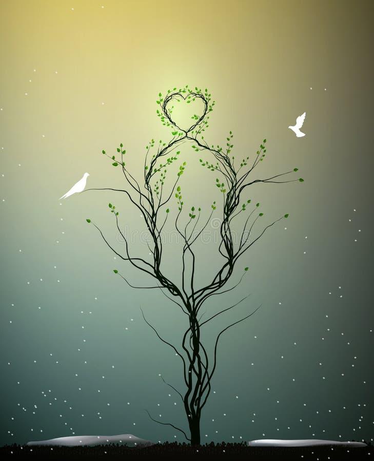 Magische boom van de lenteliefde, boom met hart obove en twee witte vogels die aan het, geheime boom vliegen van liefde, vector illustratie