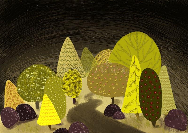 Magische bosillustratie vector illustratie