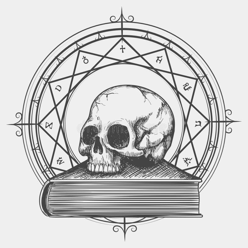 Magische Buchskizze mit dem Schädel vektor abbildung