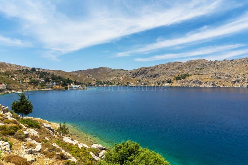 Magische Bucht auf Symi-Insel lizenzfreies stockfoto