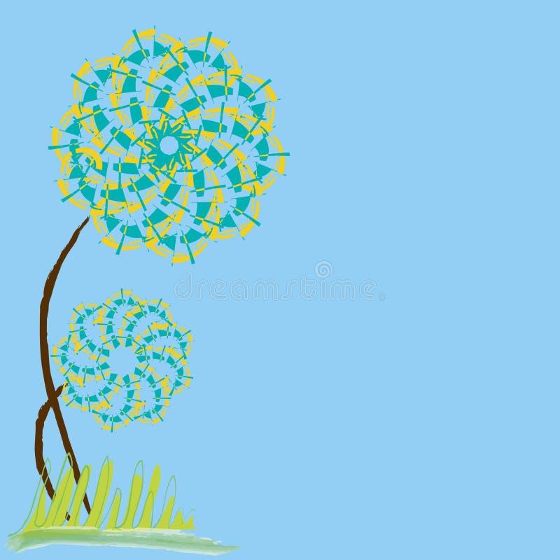 Magische bunte Blume auf einem blauen Hintergrund vektor abbildung