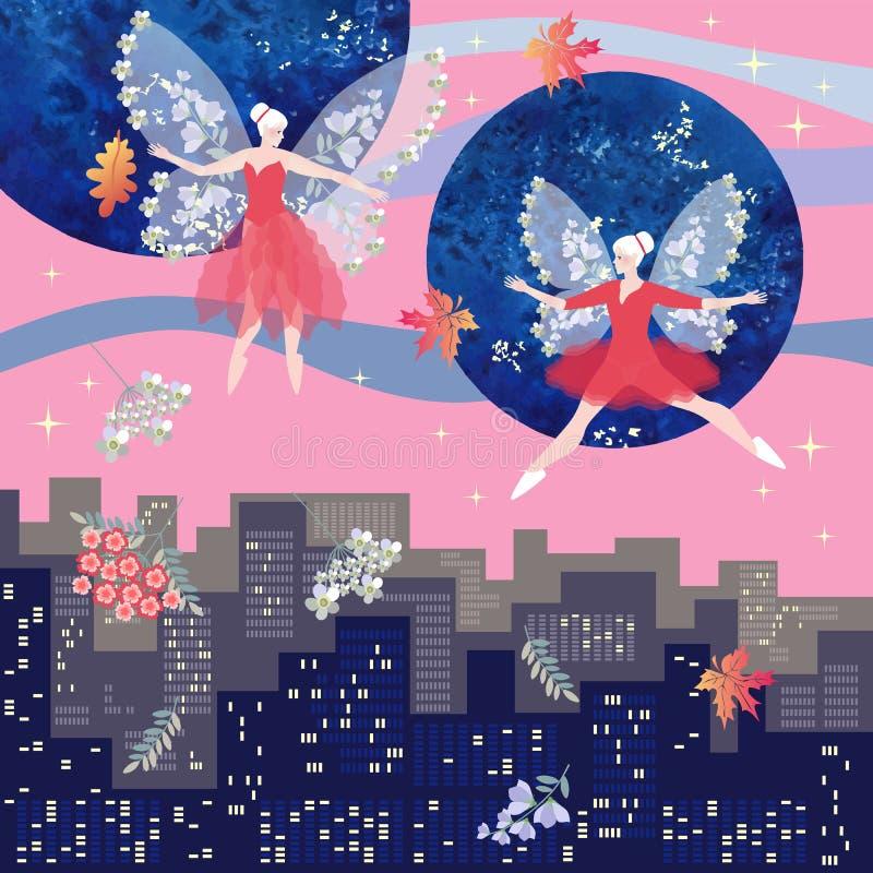 Magische dans van mooie gevleugelde feeën over de stad bij dageraad De vectorillustratie van de fantasie vector illustratie