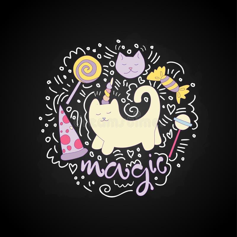Magische de pretillustratie van het katten vectorbeeldverhaal onder gebogen lijnen en lollys, snoepjes, pizza Eenhoornkat met hoo vector illustratie