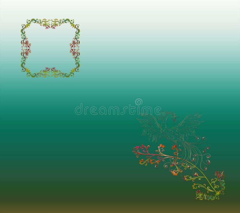 Magische die achtergrond met een gradiënt, met openwork kader wordt gevuld en royalty-vrije illustratie