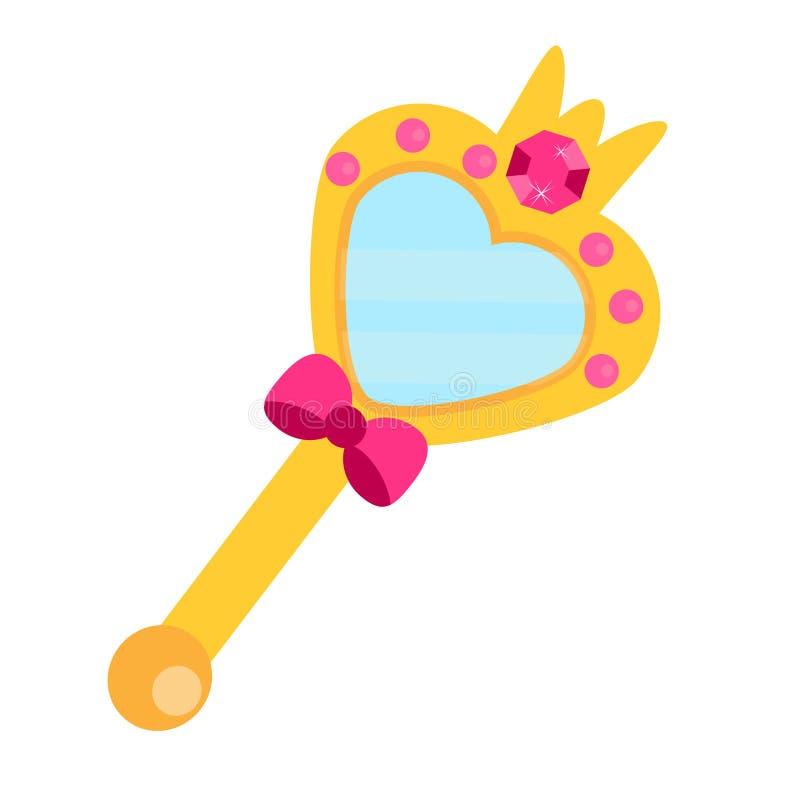 Magische die spiegel met roze diamanten wordt verfraaid De toebehoren van de prinsesschoonheid Vectorillustratie voor kinderen, j stock illustratie