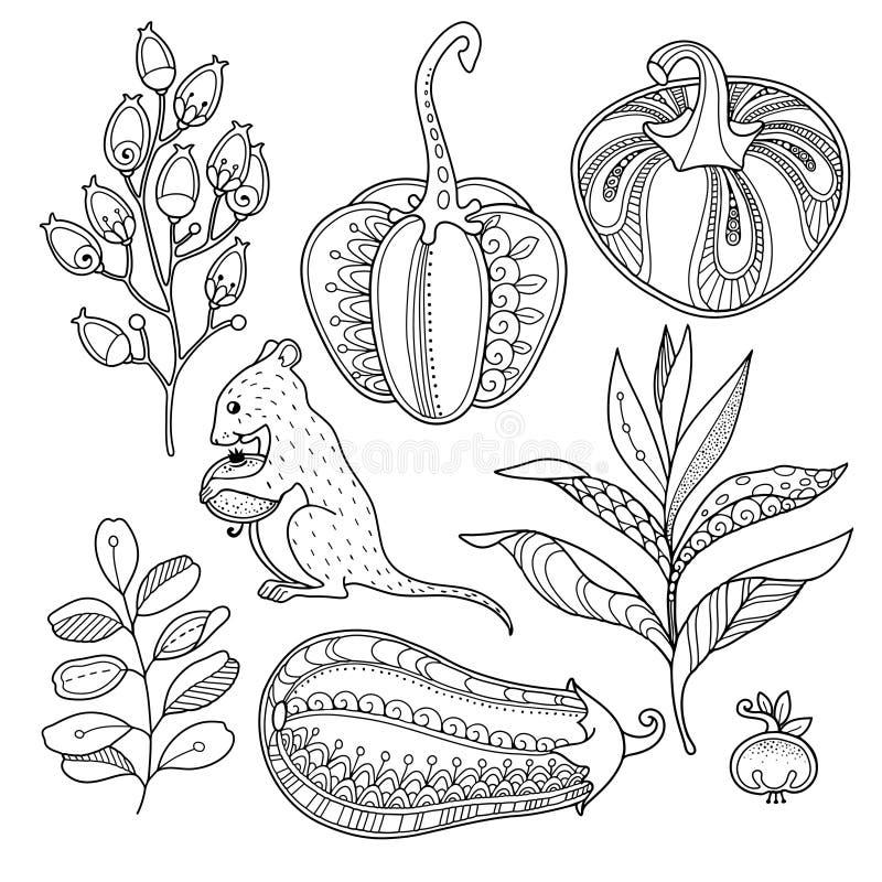Magische die tuinvoorwerpen in krabbelstijl worden geplaatst stock illustratie