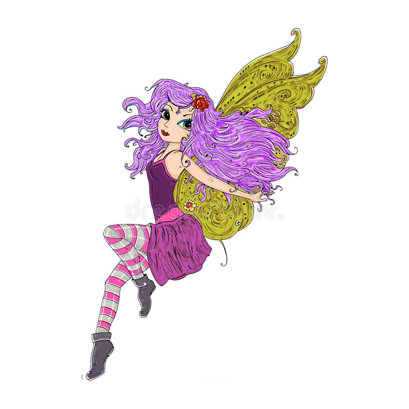 Magische Fee mit Flügeln und lange Haar Farbillustration für Bücher und Fabeln lizenzfreie abbildung