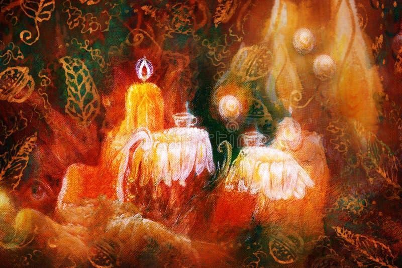 Magische fee teatime lijst die plaatsen die uit bloemen met het drijven lichten en moos structuur wordt samengesteld royalty-vrije illustratie