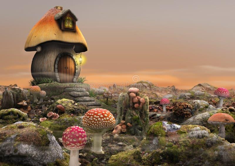 Magische feenhafte Pilz-Haus-Fantasie stock abbildung