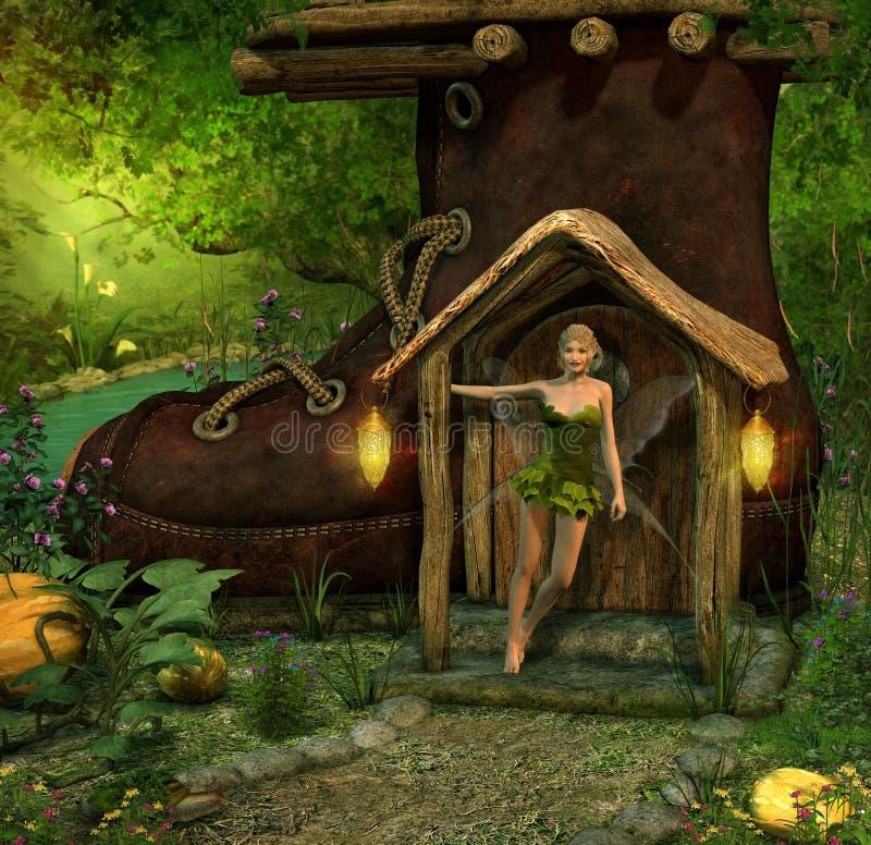 Magische feenhafte Stellung im Eingang ihres Stiefel-Hauses lizenzfreie abbildung