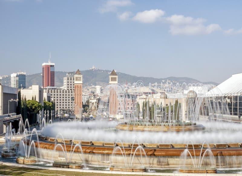 Magische Fontein op Montjuic-berg, Barcelona Spanje stock foto
