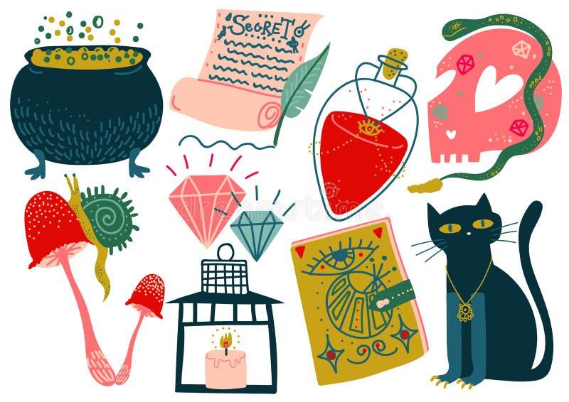 Magische Gegenstände stellten, Hexen-Geheimnis-Symbole, magische Show-Ausrüstungs-Vektor-Illustration ein lizenzfreie abbildung